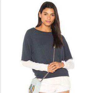 NATION LTD. cut off sweatshirt over white long slv